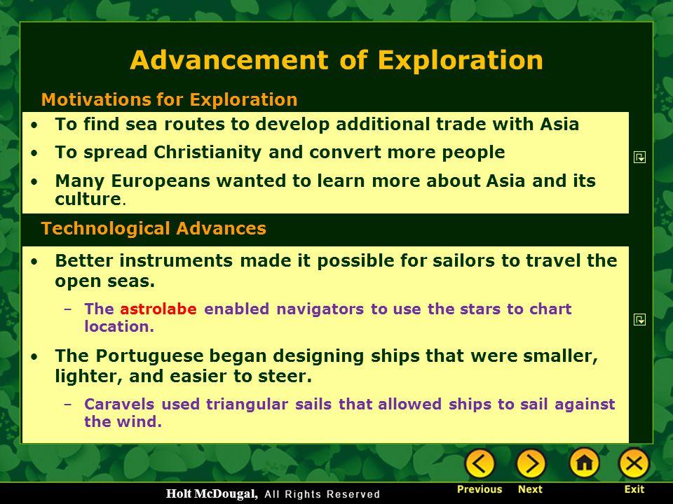 Advancement of Exploration