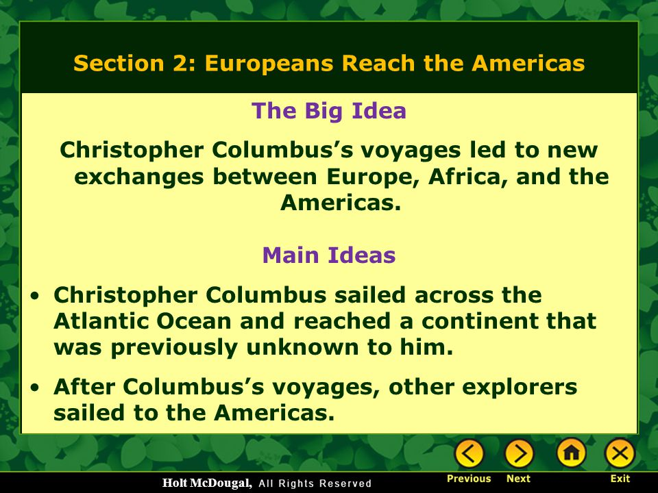 Section 2: Europeans Reach the Americas