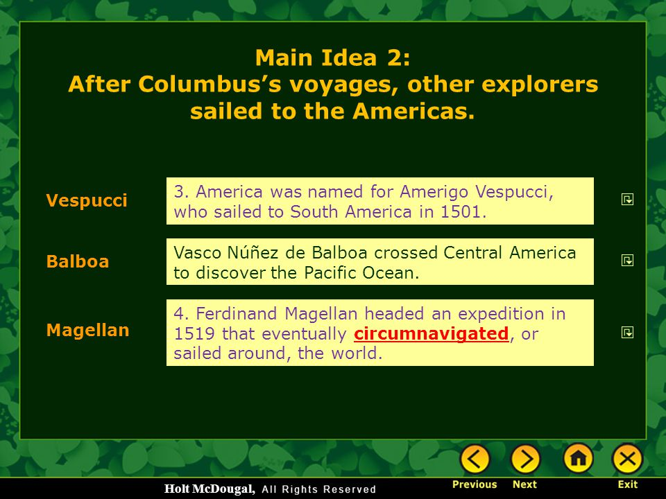 Main Idea 2: After Columbus's voyages, other explorers sailed to the Americas.