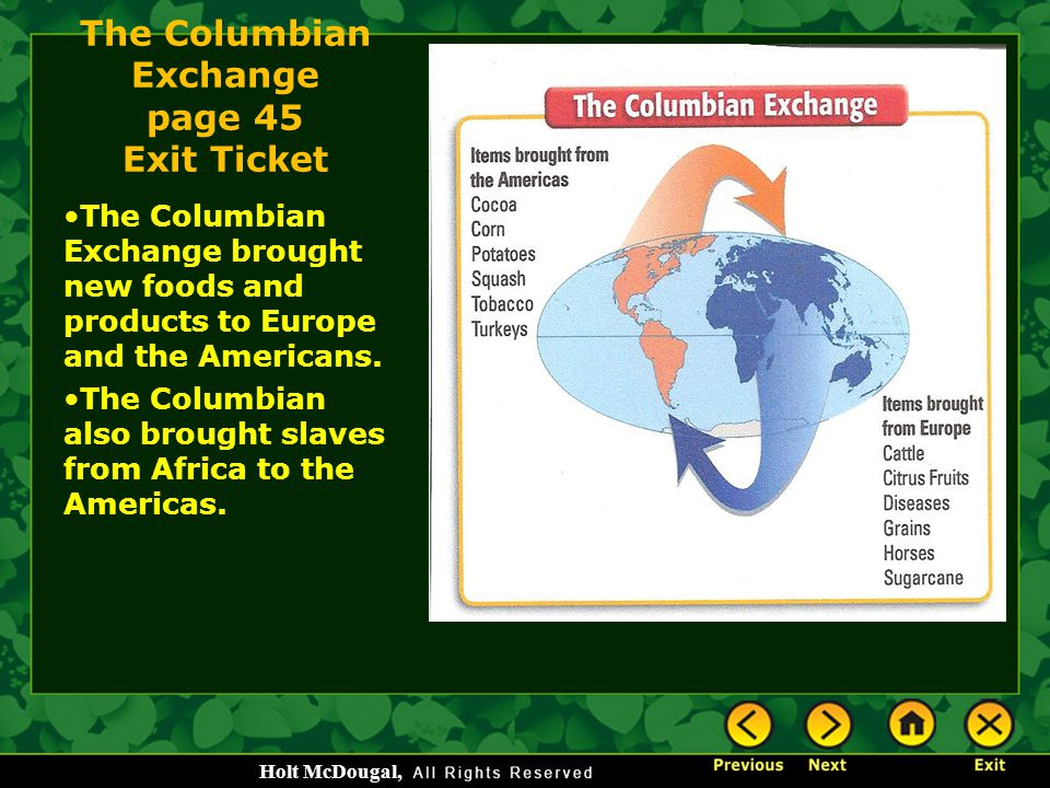 The Columbian Exchange page 45 Exit Ticket