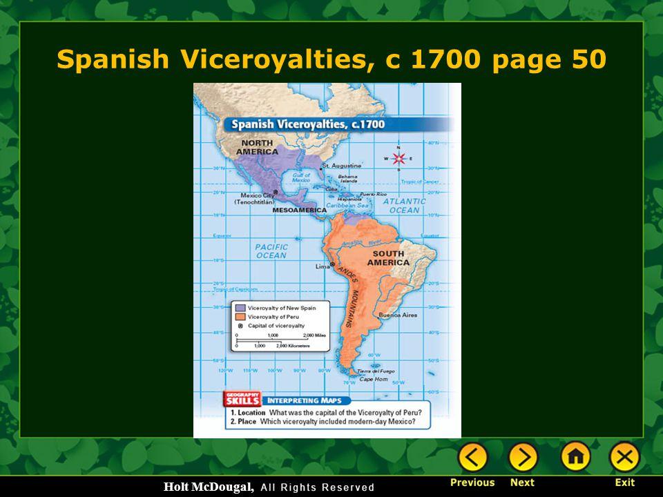 Spanish Viceroyalties, c 1700 page 50
