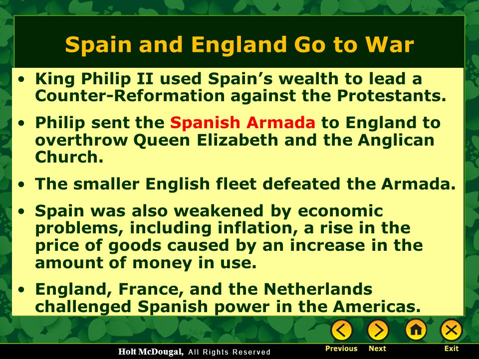Spain and England Go to War