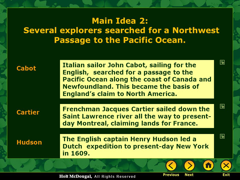 Main Idea 2: Several explorers searched for a Northwest Passage to the Pacific Ocean.
