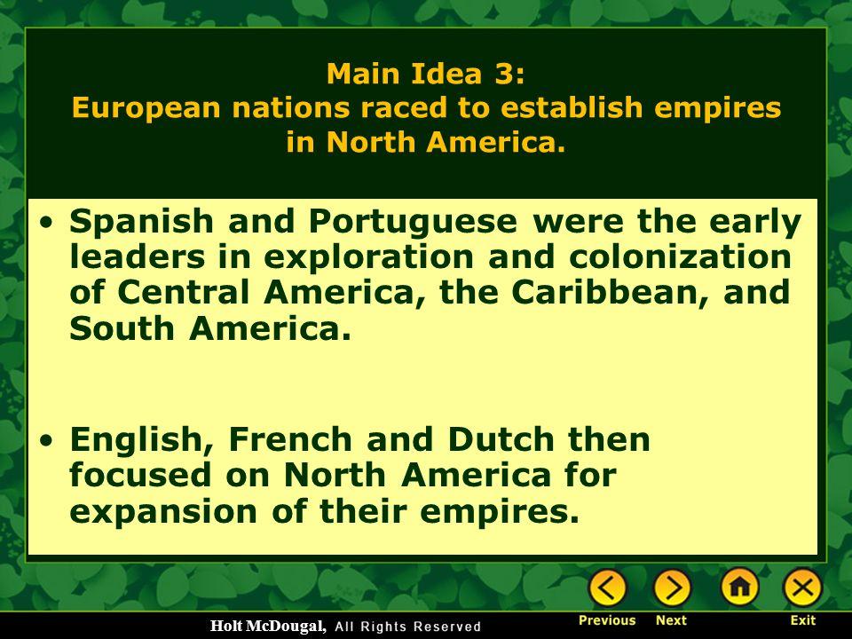Main Idea 3: European nations raced to establish empires in North America.
