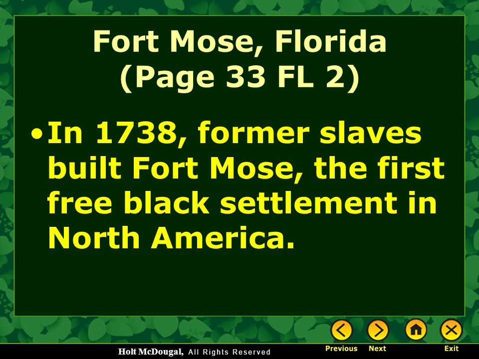 Fort Mose, Florida (Page 33 FL 2)
