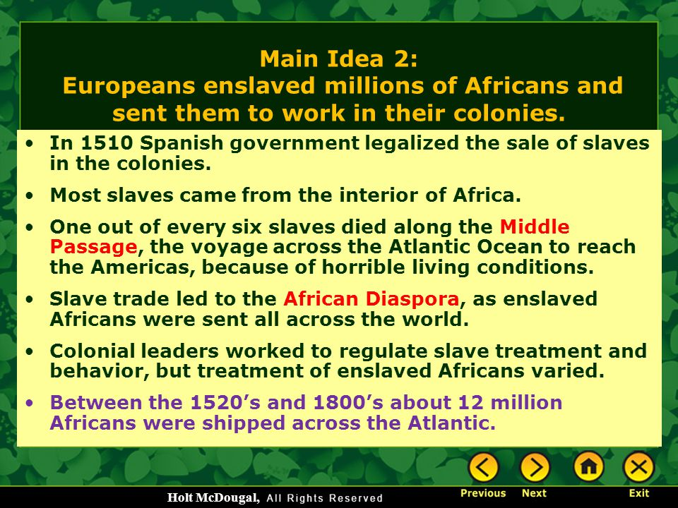 Main Idea 2: Europeans enslaved millions of Africans and sent them to work in their colonies.
