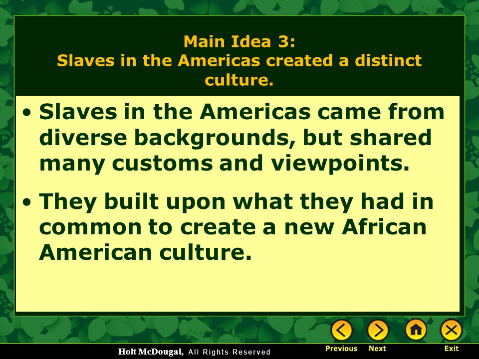 Main Idea 3: Slaves in the Americas created a distinct culture.