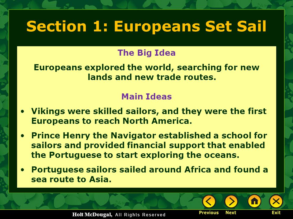Section 1: Europeans Set Sail