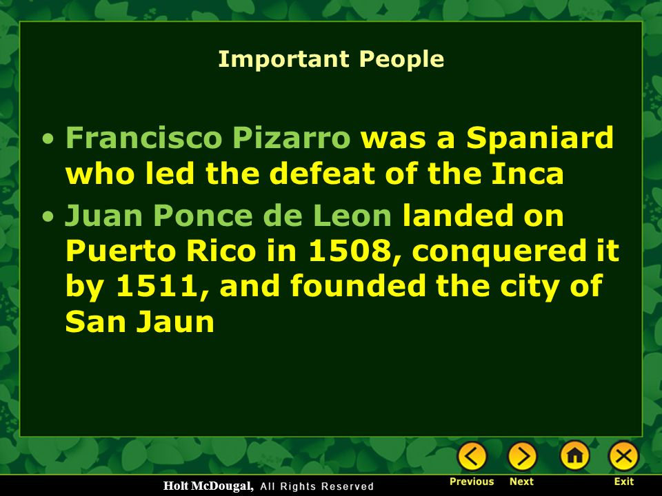 Francisco Pizarro was a Spaniard who led the defeat of the Inca