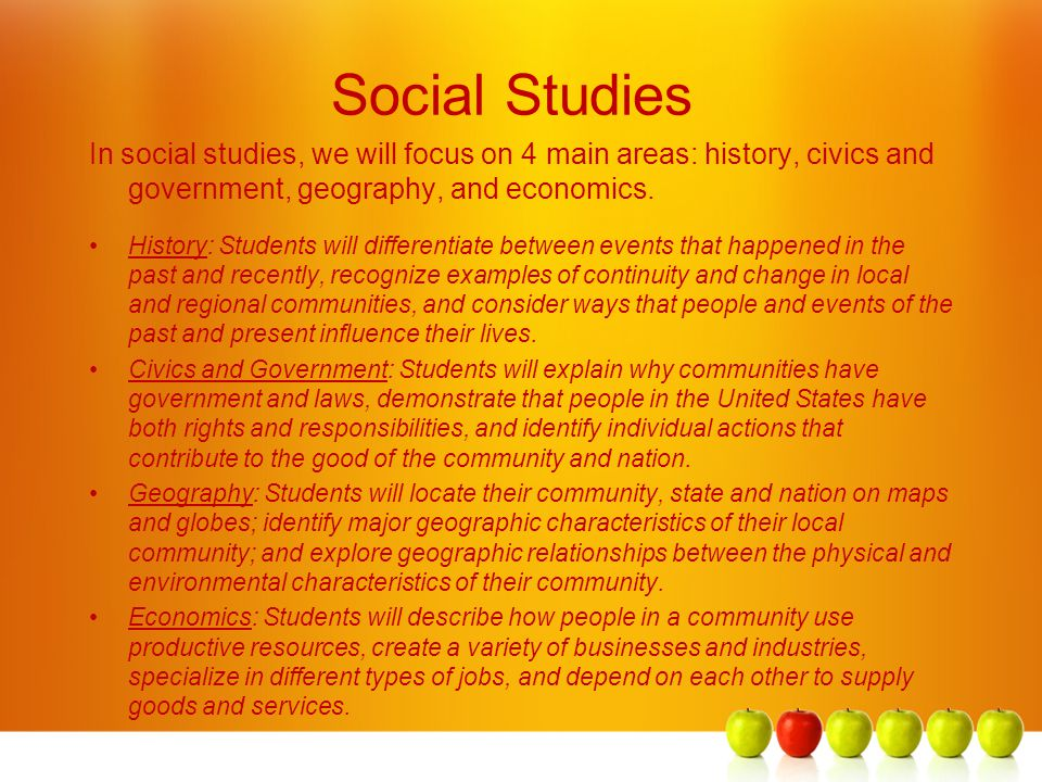 Social Studies In social studies, we will focus on 4 main areas: history, civics and government, geography, and economics.