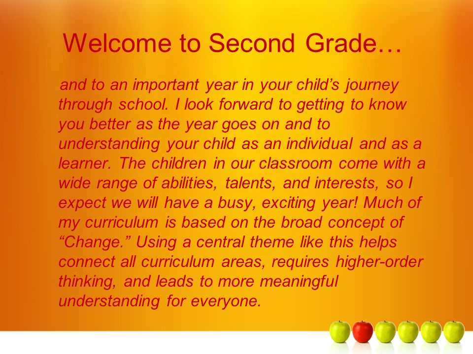 Welcome to Second Grade…