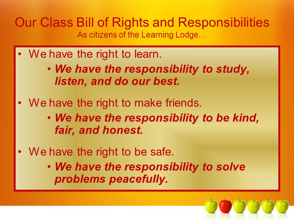 Our Class Bill of Rights and Responsibilities As citizens of the Learning Lodge…