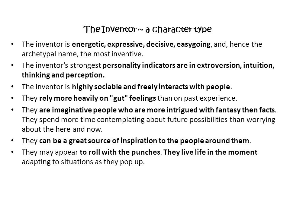 The Inventor ~ a character type