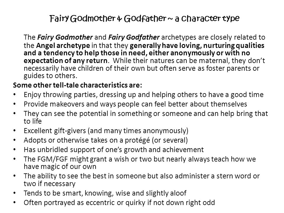 Fairy Godmother & Godfather ~ a character type