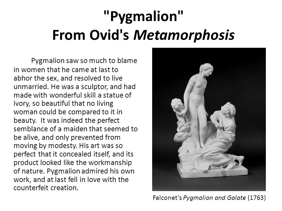 Pygmalion From Ovid s Metamorphosis