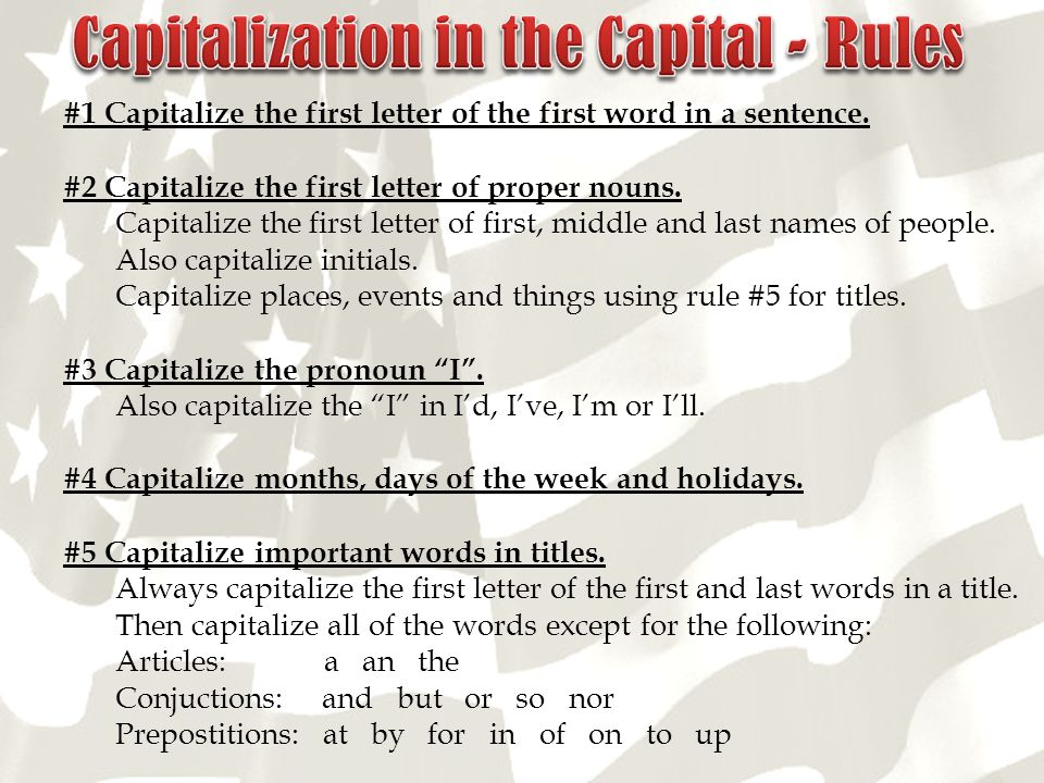 Capitalization in the Capital - Rules