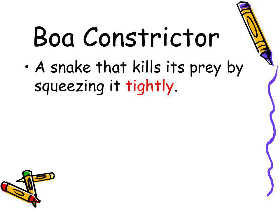 Boa Constrictor A snake that kills its prey by squeezing it tightly.