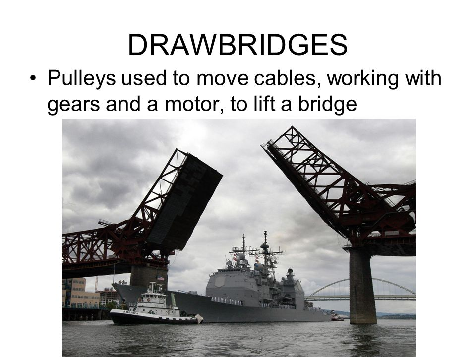 DRAWBRIDGES Pulleys used to move cables, working with gears and a motor, to lift a bridge