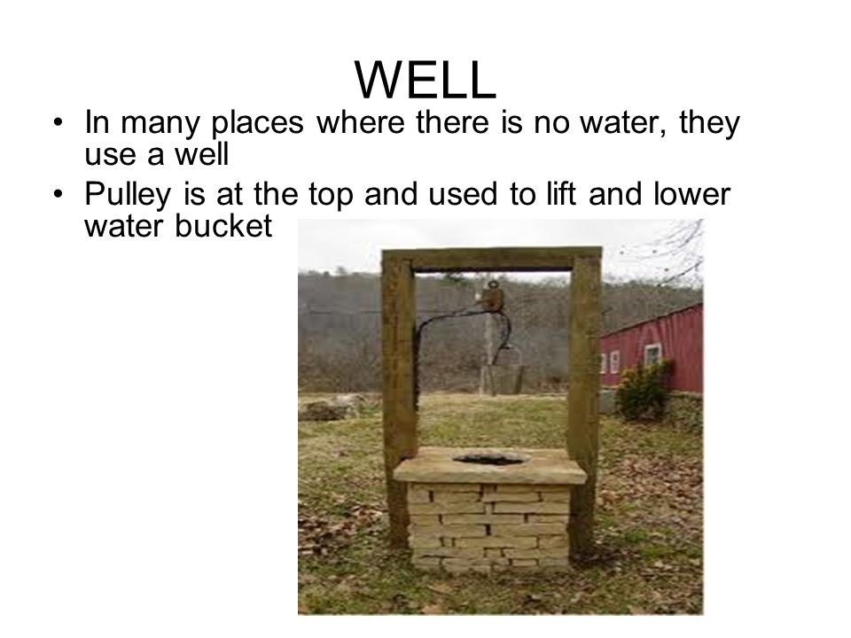 WELL In many places where there is no water, they use a well