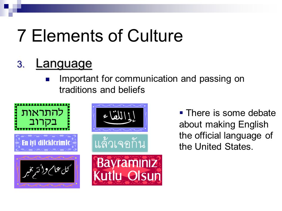 7 Elements of Culture Language