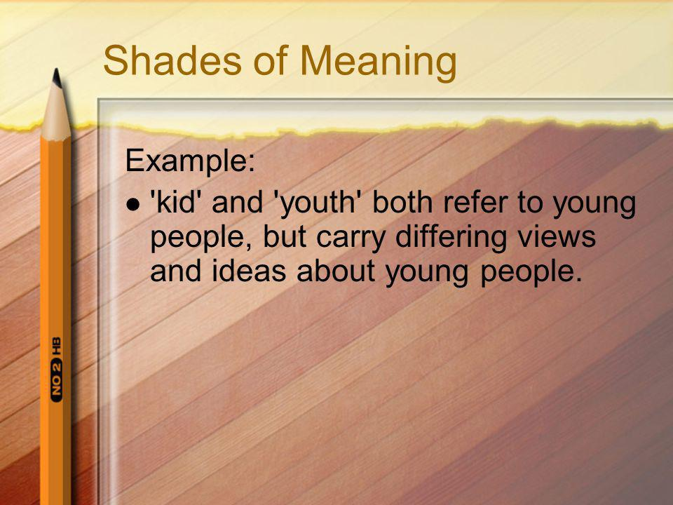 Shades of Meaning Example: