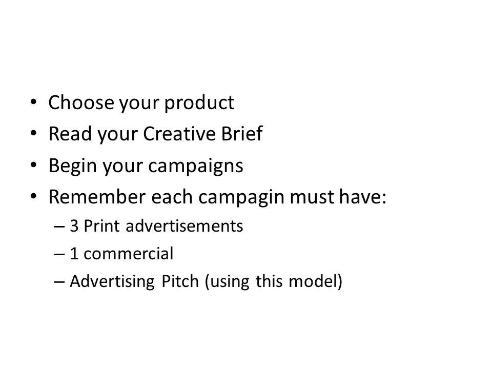 Read your Creative Brief Begin your campaigns