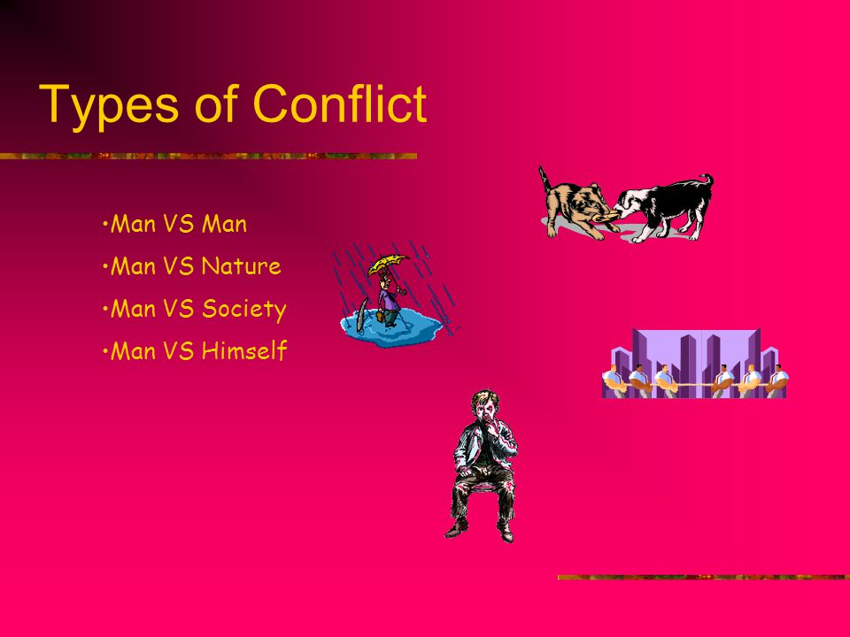 Types of Conflict Man VS Man Man VS Nature Man VS Society