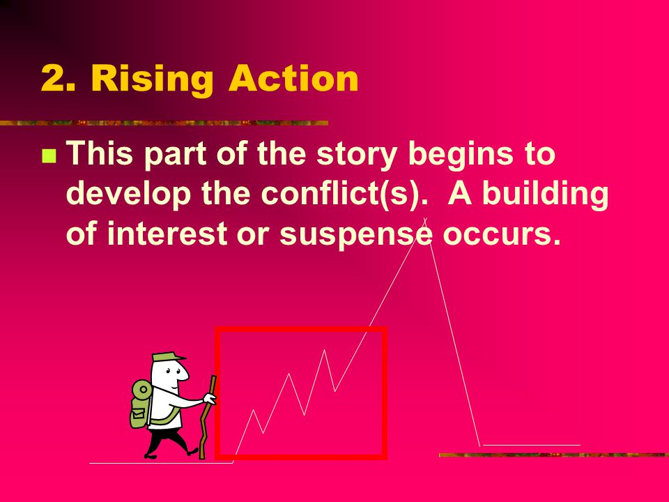 2. Rising Action This part of the story begins to develop the conflict(s).