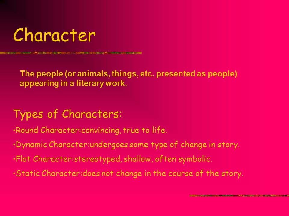 Character Types of Characters: