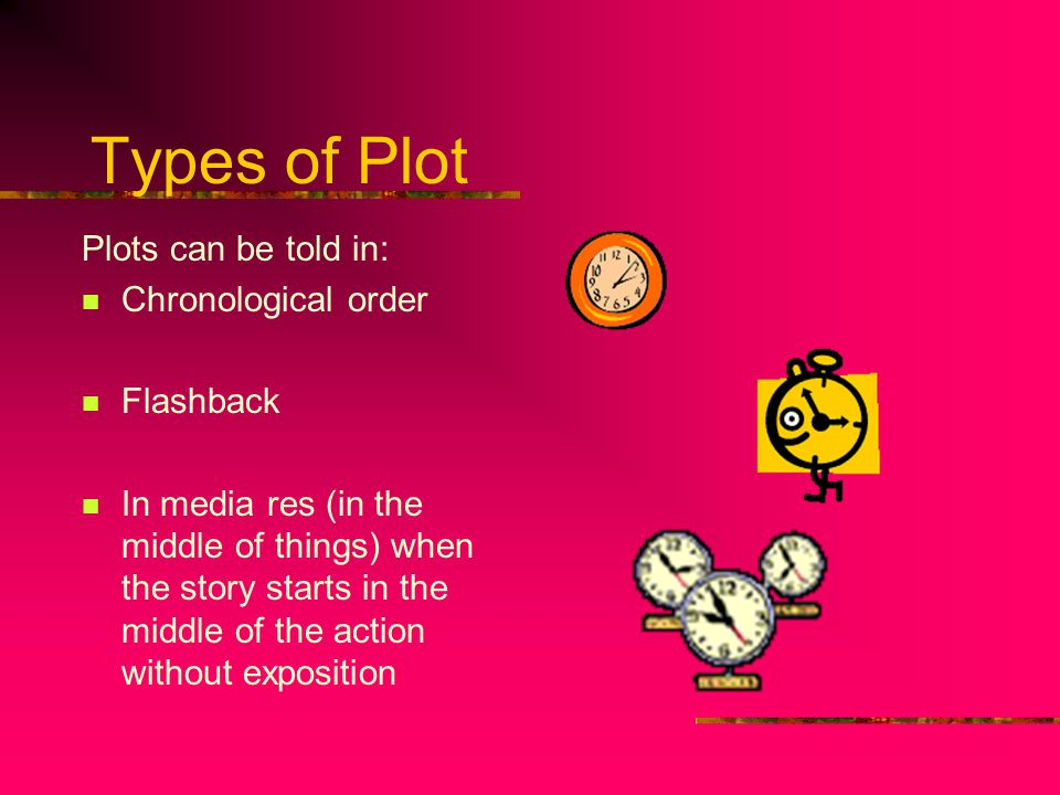Types of Plot Plots can be told in: Chronological order Flashback