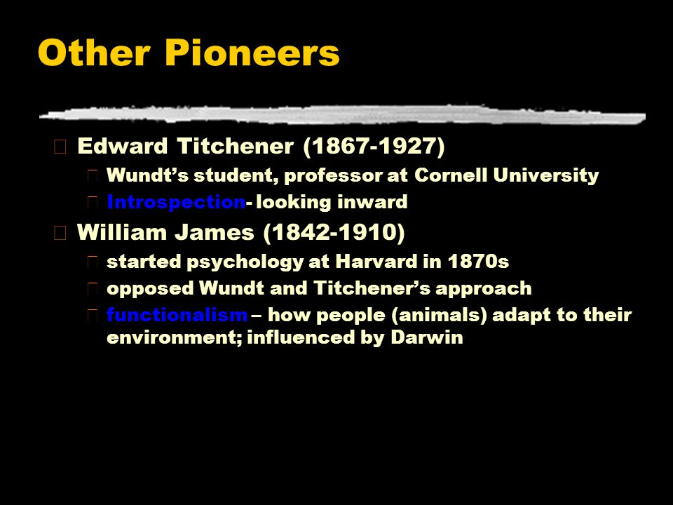 Other Pioneers Edward Titchener (1867-1927) William James (1842-1910)