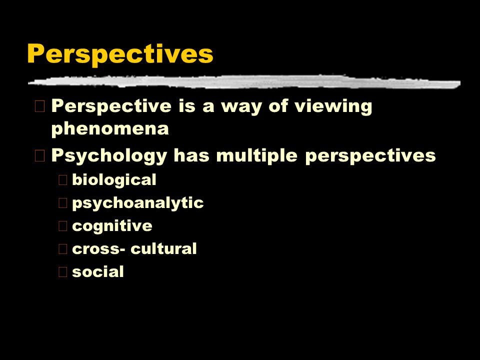 Perspectives Perspective is a way of viewing phenomena