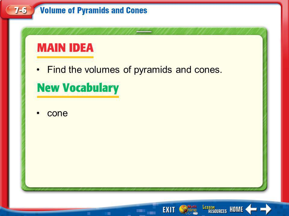 Find the volumes of pyramids and cones.