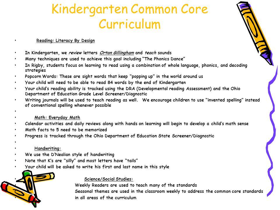 Kindergarten Common Core Curriculum
