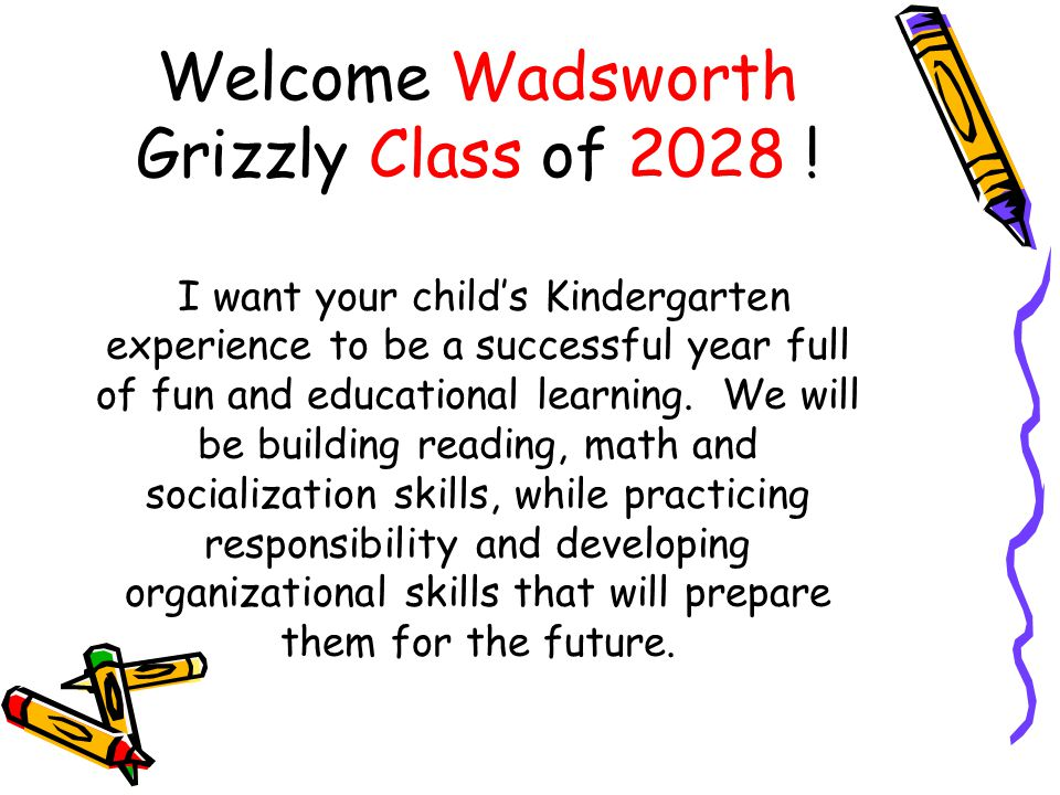Welcome Wadsworth Grizzly Class of 2028