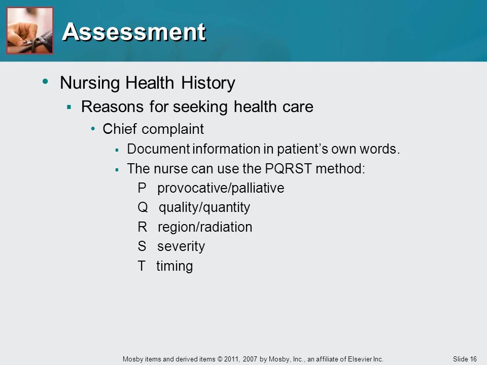 Assessment Nursing Health History Reasons for seeking health care