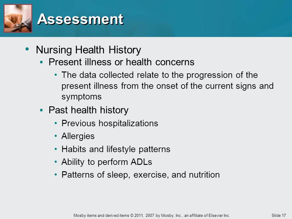 Assessment Nursing Health History Present illness or health concerns