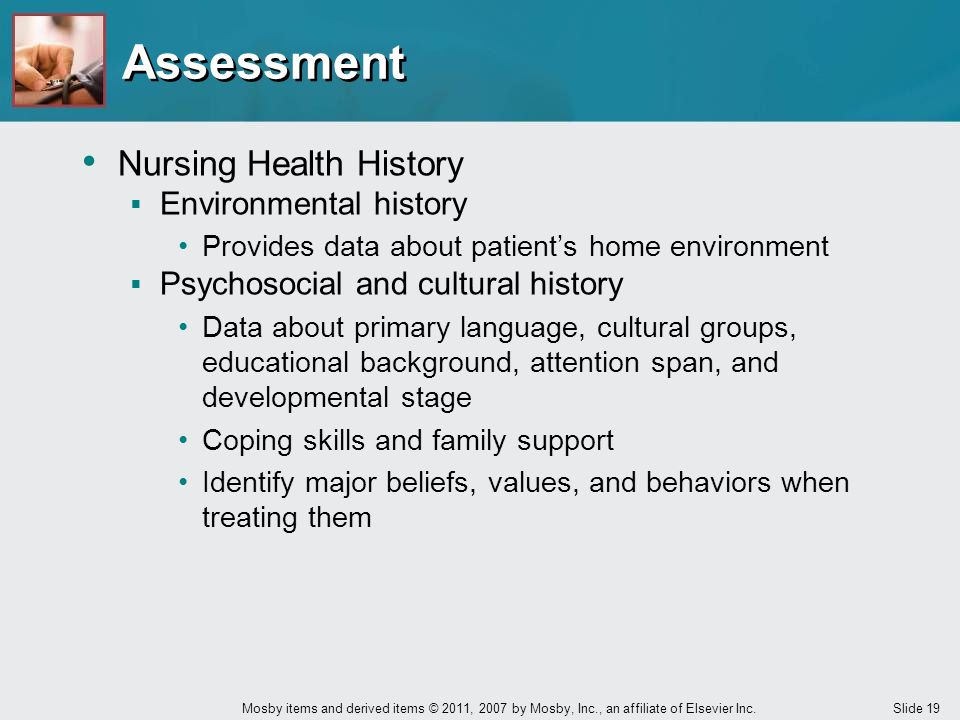 Assessment Nursing Health History Environmental history