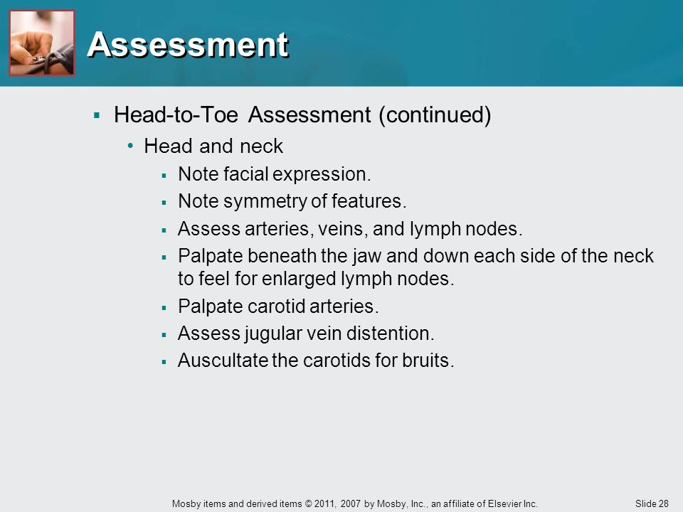 Assessment Head-to-Toe Assessment (continued) Head and neck