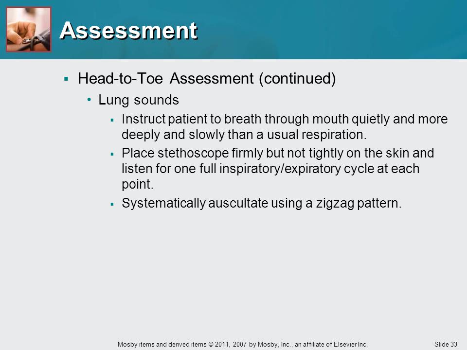 Assessment Head-to-Toe Assessment (continued) Lung sounds