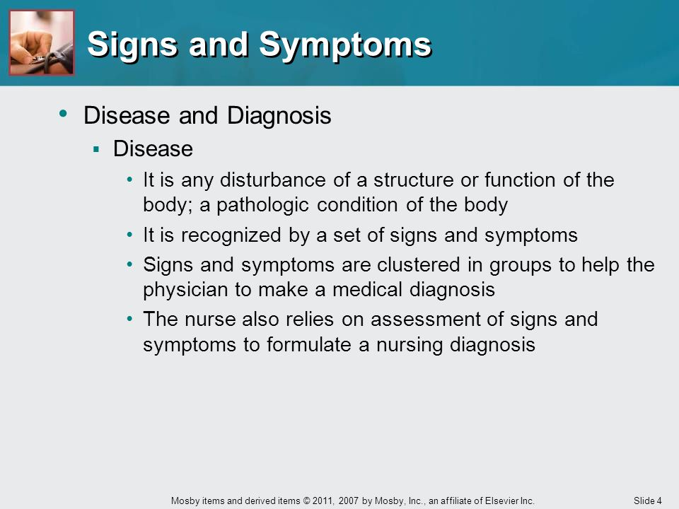 Signs and Symptoms Disease and Diagnosis Disease