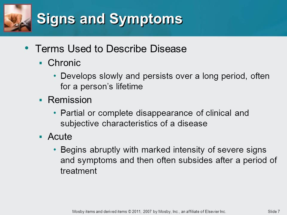 Signs and Symptoms Terms Used to Describe Disease Chronic Remission