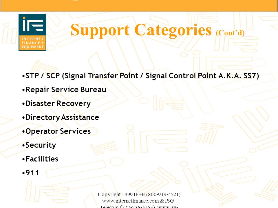 Support Categories (Cont'd)