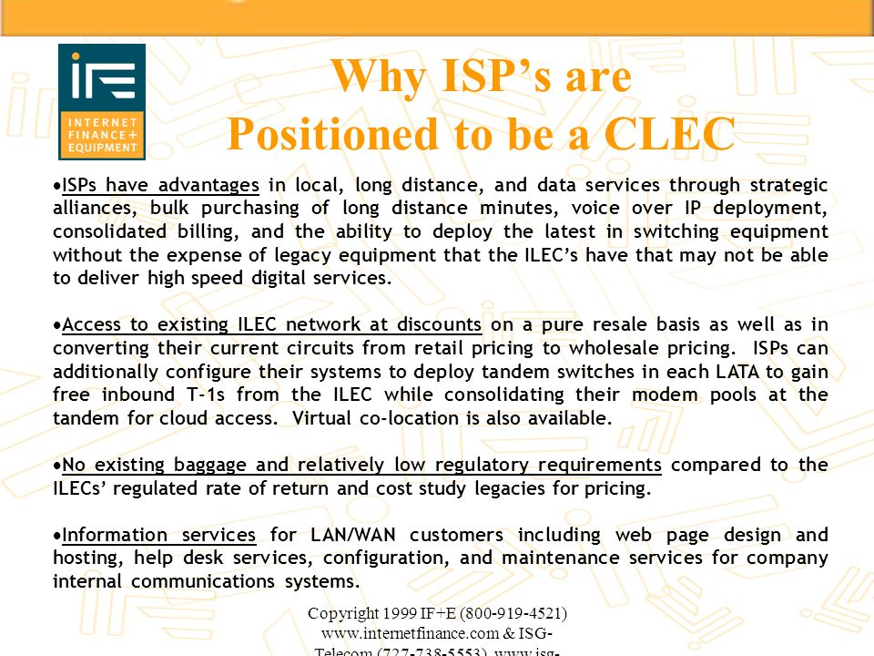 Why ISP's are Positioned to be a CLEC