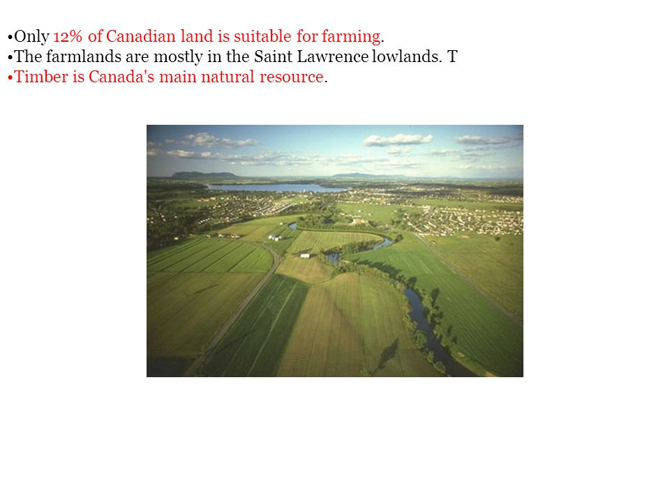 Only 12% of Canadian land is suitable for farming.
