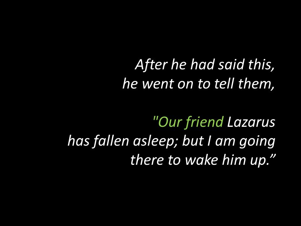 After he had said this, he went on to tell them, Our friend Lazarus has fallen asleep; but I am going there to wake him up.
