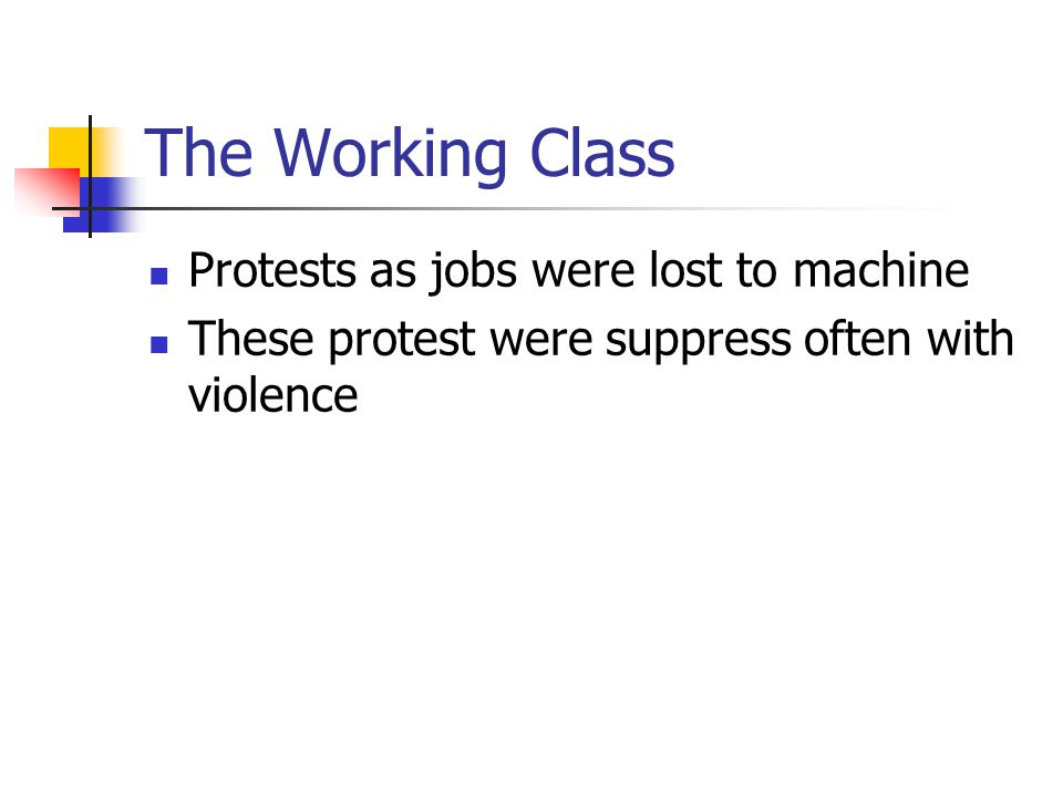 The Working Class Protests as jobs were lost to machine