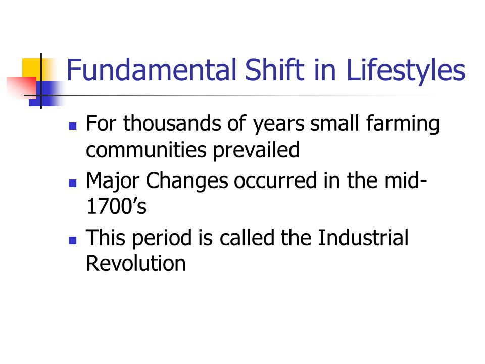 Fundamental Shift in Lifestyles
