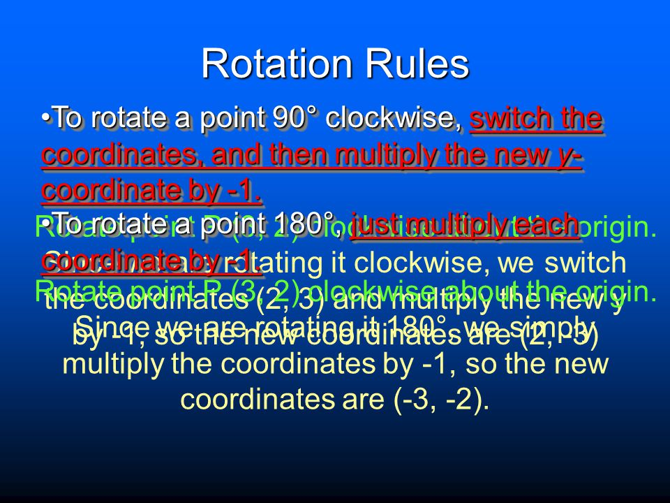 Rotation Rules To rotate a point 90° clockwise, switch the coordinates, and then multiply the new y-coordinate by -1.