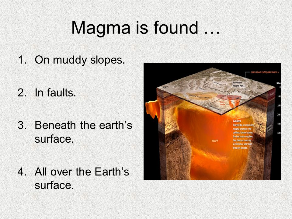 Magma is found … On muddy slopes. In faults.